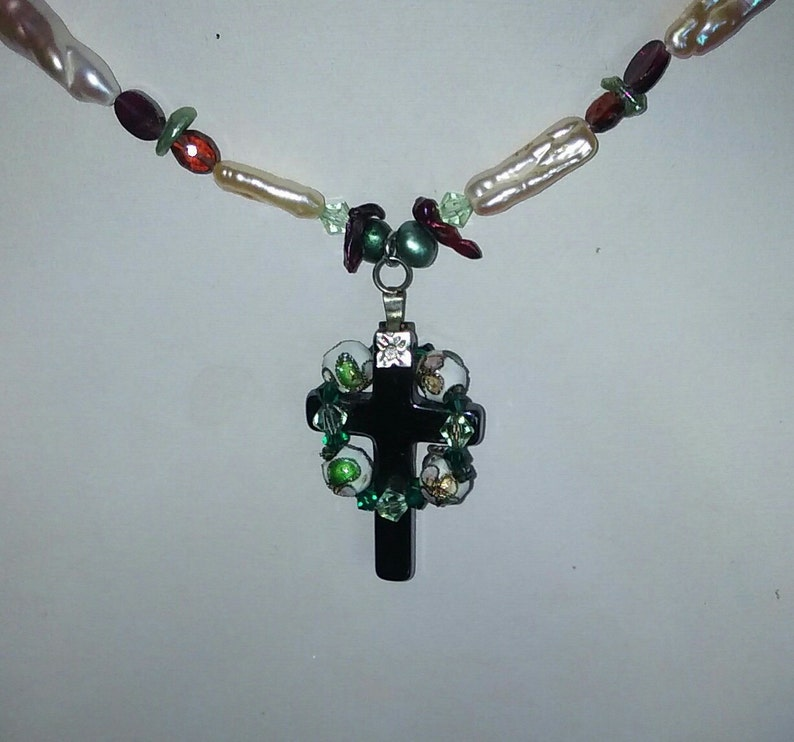 Handmade Celtic Cross with Garnets Freshwater Pearls and image 0