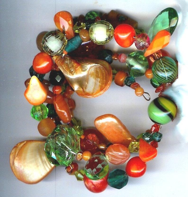 Orange Green Gemstone Glass Freshwater Pearl 3 Strand Memory image 0