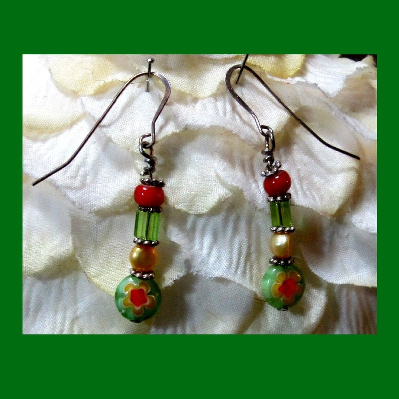 Green and Red Millefiori Earrings image 0