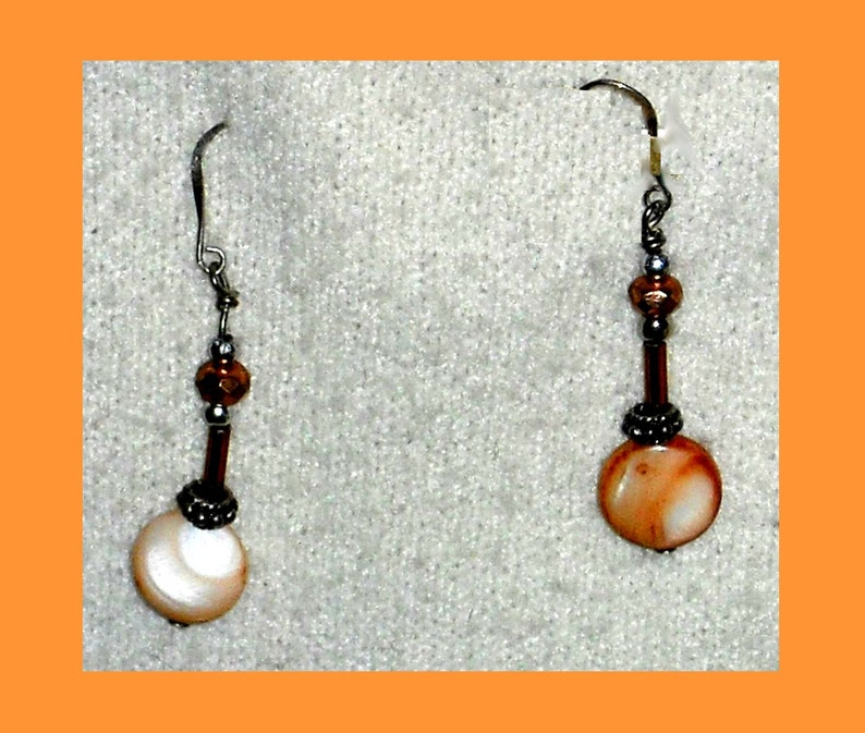 Mother of Pearl Drop Dangle Earrings on Sterling Silver Wires image 0