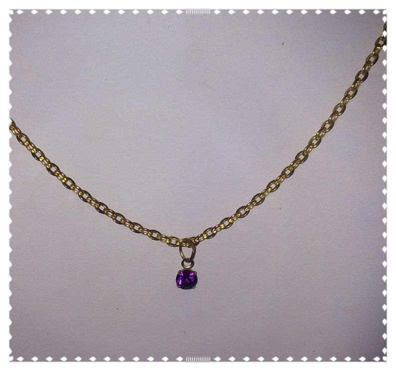 Simple Handmade Amethyst Crystal Drop Necklace Gold Plate image 0