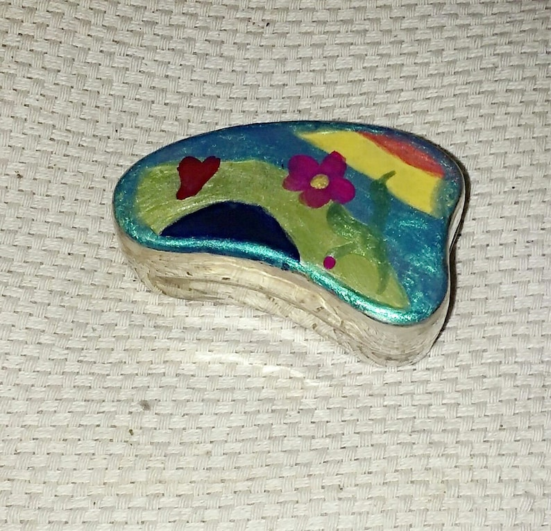 Hand Painted Solid Indian Silver Amoeba Shaped Box image 0