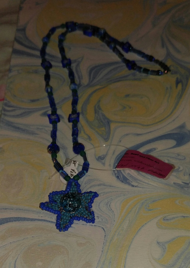 Blue and Turquoise Beaded Star Flower image 0