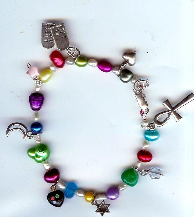 Multicolored Freshwater Pearl Religious Sterling Charm image 0
