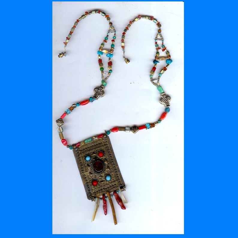 Old Brass Buckle Necklace with Coral and Turquoise image 0