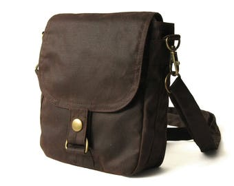 Waxed Canvas Hip Bag, Waxed Canvas Bag, Waxed Canvas Pouch - The Brown Hipster Plus