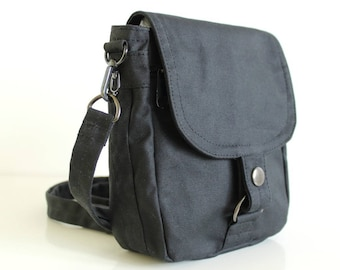 Waxed Canvas Travel Pouch, Vegan Pouch, Waxed Canvas Bag, Waxed Canvas Pouch - The Black Hipster Plus