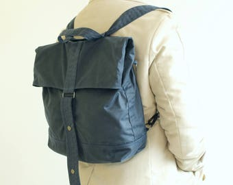 Navy waxed canvas backpack, waxed canvas rucksack, blue backpack, messenger bag, holdall, unisex bag, tote - The Navy Multi Way Backpack