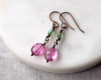 Light Pink Drop Earrings / Light Pink and Green / Summer Earrings / Brass Earrings / Lightweight Breezy Earrings / Pink Glass