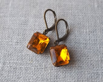 Golden Topaz Earrings / Rhinestone Earrings / Vintage Glass Rhinestone Jewelry / Hollywood Glam / November Birthstone Earrings