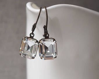 Clear Crystal Rhinestone Earrings / Vintage Swarovski Crystal Earrings / Vintage Wedding Victorian Jewellery / Estate Style Wedding Earrings