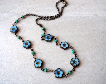 Denim Blue Flower Necklace / Czech Glass Beads / Boho Chic Floral Necklace / Bohemian Jewelry / Blue and Green Brass Necklace / Dreamy Blue