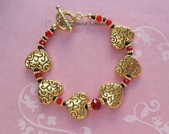 DIY Bracelet ~ Scarlet Heart ~ Valentine's Bracelet Jewelry Making Bead Kit with Instructions