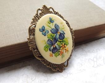 e18d0ebc1 Vintage Victorian Blue Floral Brooch / Filigree Brooch / Forget Me Not  Brooch / Vintage Brooch / 1960s Brooch / Blue Flower Jewelry / Estate