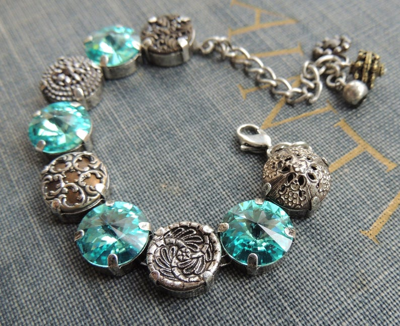 Vintage Button Bracelet  OOAK Victorian Button Bracelet  Cupchain Bracelet  Steel Cut Button Bracelet  Rhinestone Bracelet Anna Wintour