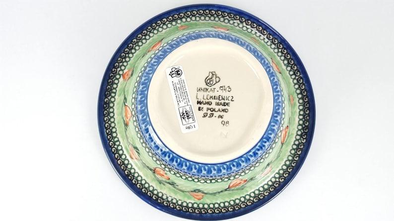 Signature 451-U Series Pottery Vintage Boleslawiec Polish Stoneware Tulips Small Rolled Lip Bowl