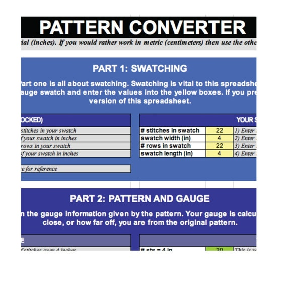 Knitting Pattern Size And Gauge Converter Etsy