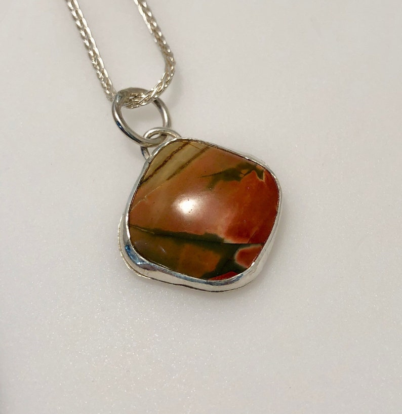 Red Creek Jasper Square Pendant on a sterling silver chain image 0