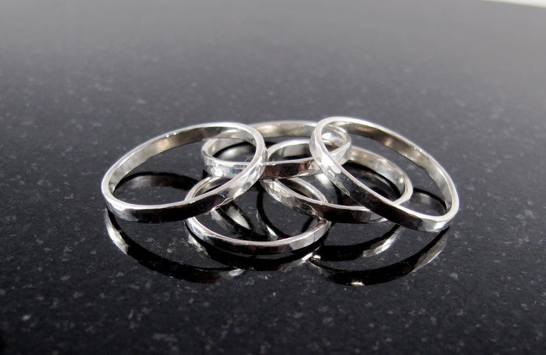 Hammered Sterling Silver Stacking Band Ring image 0