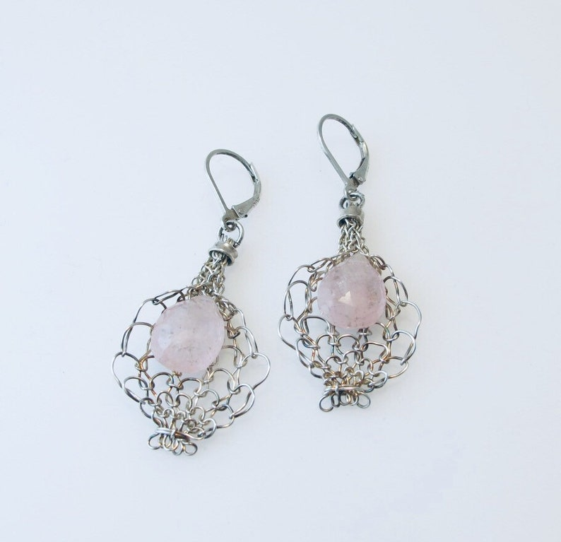 Morganite in a Lily Inspired Fine Silver Woven Drop on image 0
