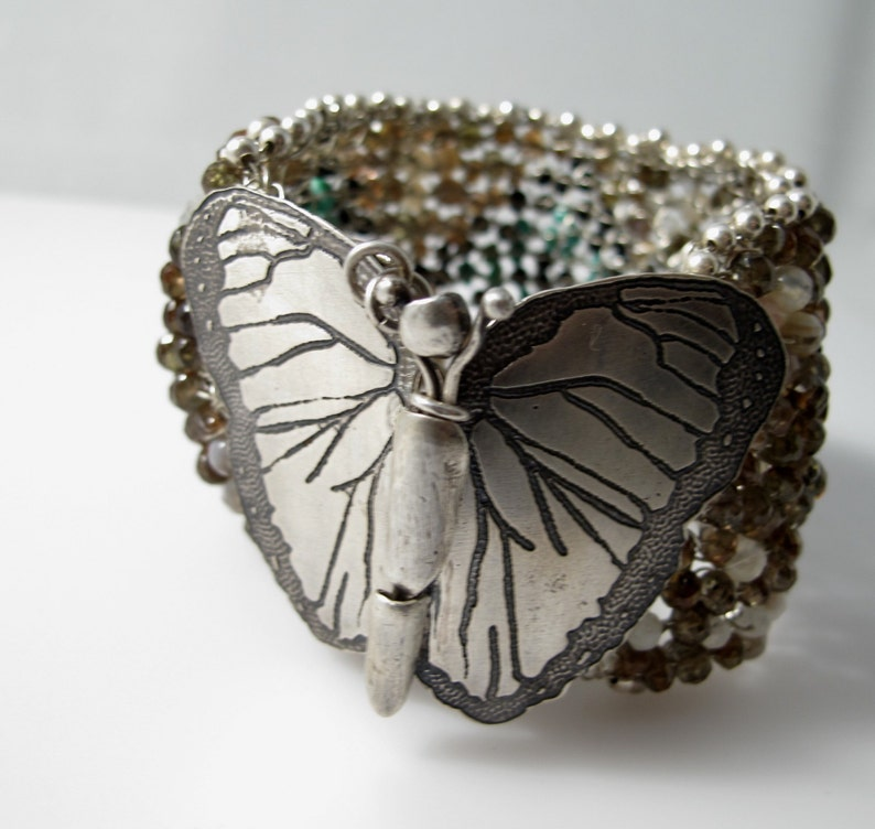 Blue Morpho Butterfly Sterling Silver Turquoise Black image 0