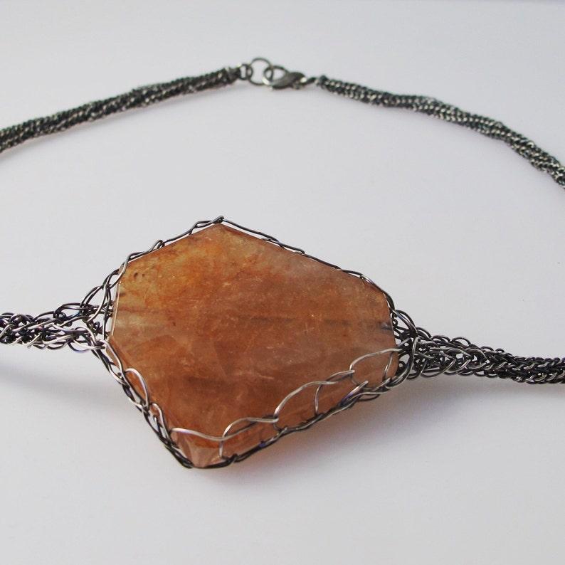 Peach Quartz Fine Silver Woven Chain Choker image 0