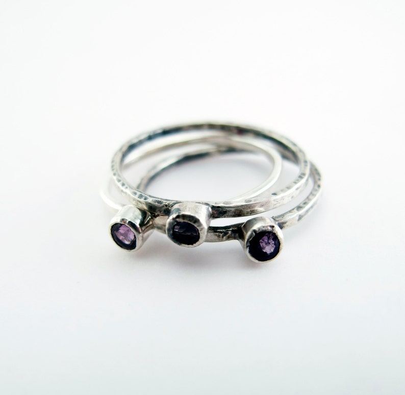 Amethyst Birthstone Sterling Silver Stacking Trinket Ring image 0