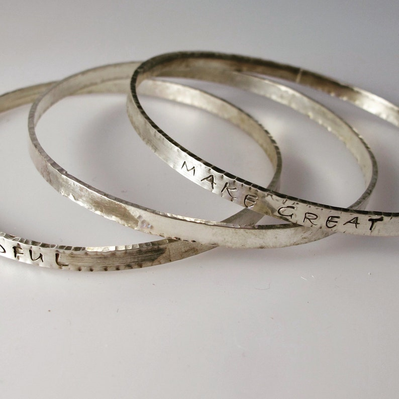 Sterling Inspiration Bangles Make Great Art and Evermindful image 0
