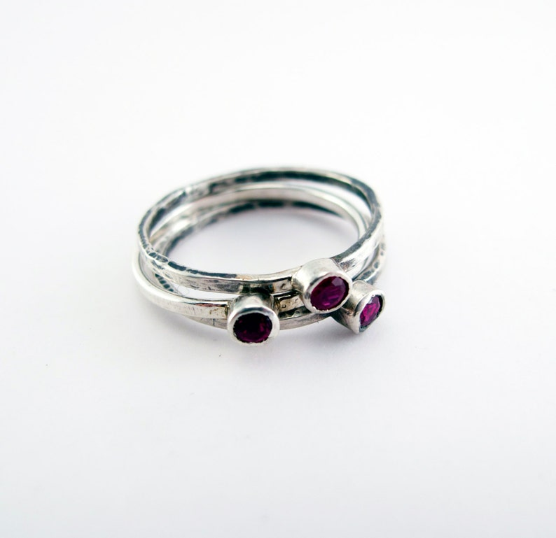 Ruby Birthstone Sterling Silver Stacking Trinket Ring image 0