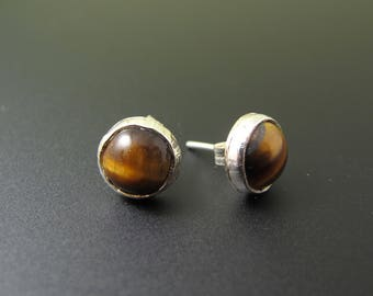 Tigerseye Sterling Stud Earrings