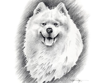 Samoyed Drawing Etsy