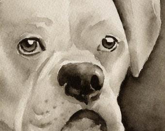 WHITE BOXER Sepia Art Print by Watercolor Artist DJ Rogers