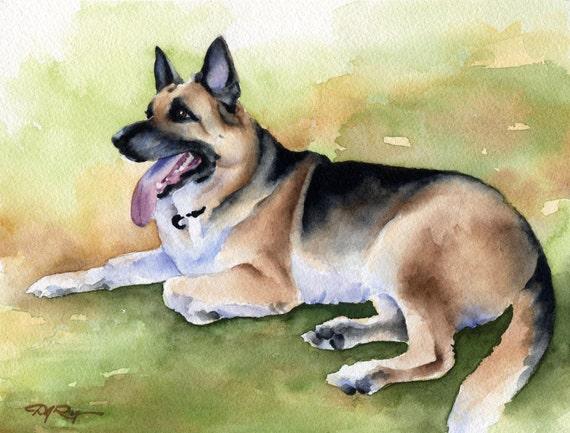 White German Shepherd Art Print Sepia Watercolor 11 x 14 by Artist DJR