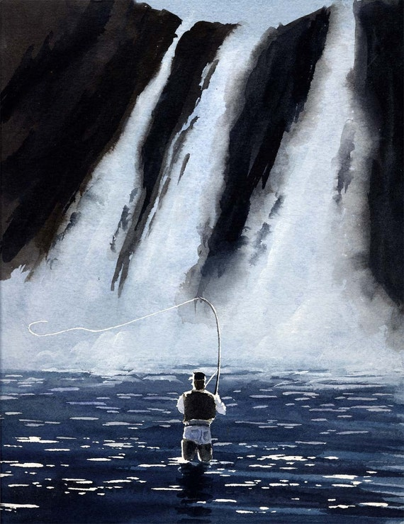 FLY FISHING Painting ART 11 X 14 LARGE Print by Artist DJR