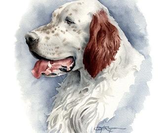 ENGLISH SETTER Dog Art Print Signed by Artist DJ Rogers