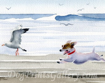 "Jack Russell Terrier Art Print ""Jack Russell Terrier at the Beach"" Watercolor Signed by Artist DJ Rogers"