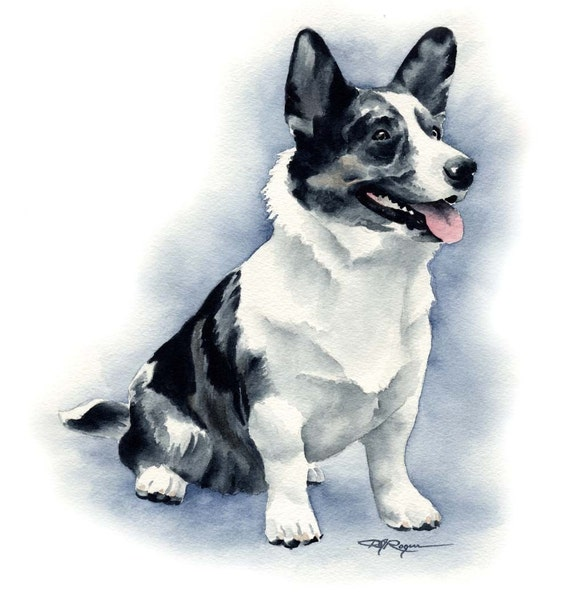 Cardigan Welsh Corgi Art Print Sepia Watercolor 11 x 14 by Artist DJR