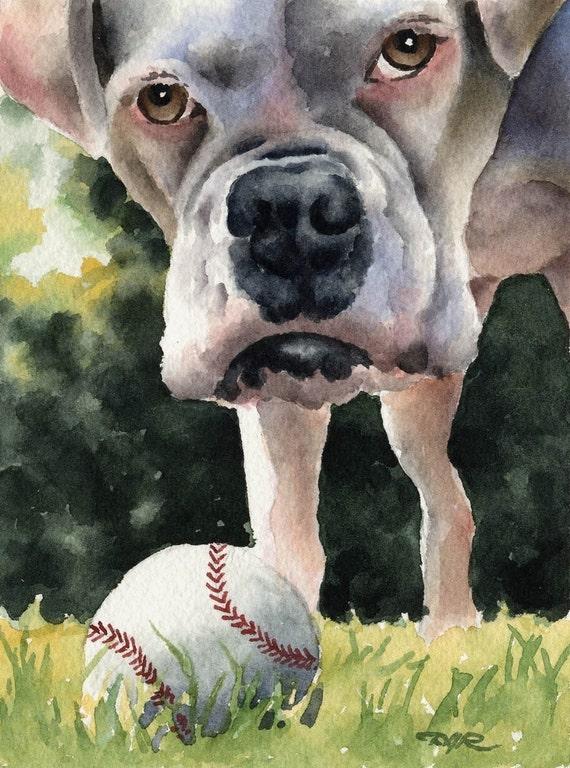 Boxer Art Print Sepia Watercolor by Artist DJR