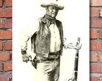 John Wayne Portrait Signed Pencil Art Print by Artist DJ Rogers