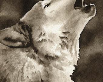 WOLF Sepia Art Print by Watercolor Artist DJ Rogers