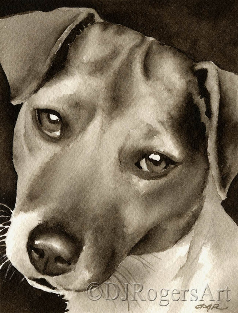 Pit Bull Terrier Puppy Art Print Sepia Watercolor Painting by Artist DJR