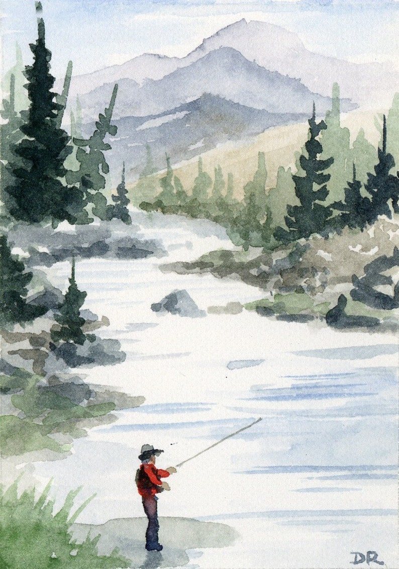"Fly Fishing /""RAINBOW TROUT/"" Watercolor 11 x 14 Art Print by Artist DJR"