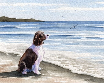 "SPRINGER SPANIEL Art Print ""Springer Spaniel At The Beach"" Watercolor by Artist DJ Rogers"