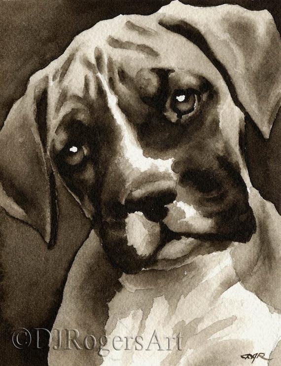 Dachshund Art Print Sepia Watercolor 11 x 14 Painting by Artist DJR