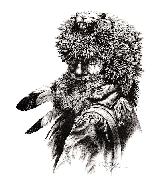 Mountain Man Pen And Ink Drawing Art Print By Artist Dj Rogers Etsy