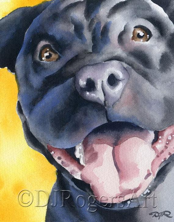 PIT BULL Dog Painting ART 11 X 14 LARGE by Artist DJR