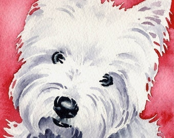White West Highland Terrier Art Print Signed by Artist DJ Rogers