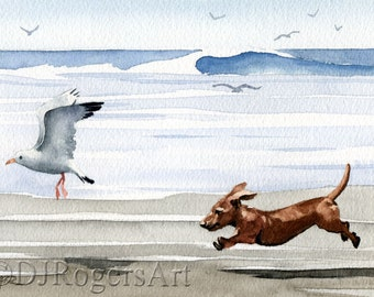 "Dachshund Art Print ""DACHSHUND At The Beach"" by Watercolor Artist DJ Rogers"