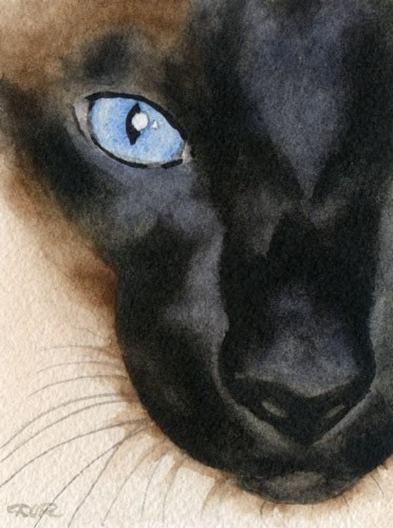 Siamese Cat Art Print Sepia Watercolor Painting by Artist DJR