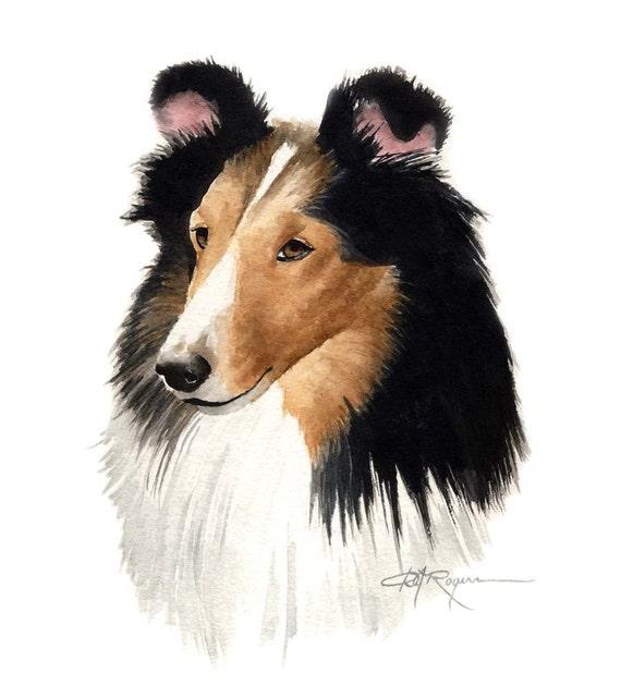 Shetland Sheepdog Sheltie Art Print Watercolor 11 x 14 by Artist DJR